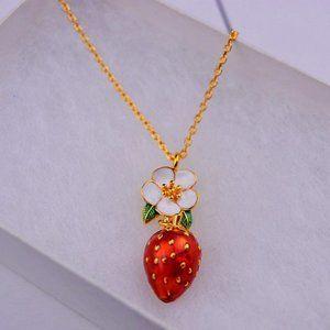 Kate Spade Enamel Flower Strawberry Necklace